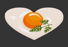 Spiegeleier in Form eines Herzens in einer Bratpfanne gekocht für selbst gemachte Nahrung des Valentinstagfrühstücks Vektor lizenzfreie abbildung
