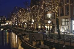 Illuminated trees and old facades in Amsterdam royalty free stock photography