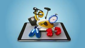 Spieghi la varia sanità, funzione di servizio di Internet di forma fisica per lo Smart Phone cuscinetto astuto, cellulare illustrazione di stock
