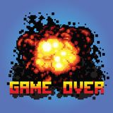 Spiel über Boommitteilungspixel-Kunstillustration Lizenzfreies Stockfoto