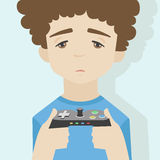 Spiel über flacher Illustration des Jungen Stockbilder
