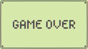 Spiel über Retro- Pixel Art Style Message auf alter Schule Arcade Machine Hintergrund der Animation 4K stock abbildung