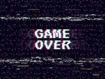 Spiel über Störschubhintergrund Retro- Spielhintergrund GlitchedLeitungsgeräusch VHS-Effekt für Ihr Design Pixelaufschrift Stockfotografie