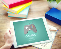 Spiel, das Problem-Steuerknüppel-Gerät-Konzept spielt stockfoto