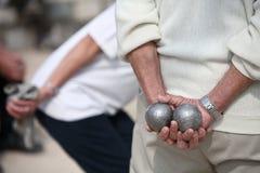 Spiel der Boules (Petanque) stockfotografie