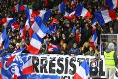 Spiel 2014 der Fußball-Weltmeisterschafts-näheren Bestimmung Ukraine gegen Frankreich Lizenzfreie Stockfotos