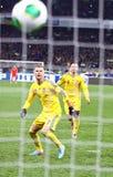 Spiel 2014 der Fußball-Weltmeisterschafts-näheren Bestimmung Ukraine gegen Frankreich Lizenzfreie Stockfotografie