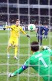 Spiel 2014 der Fußball-Weltmeisterschafts-näheren Bestimmung Ukraine gegen Frankreich Lizenzfreie Stockbilder