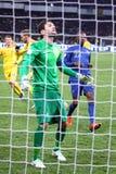 Spiel 2014 der Fußball-Weltmeisterschafts-näheren Bestimmung Ukraine gegen Frankreich Stockfotos