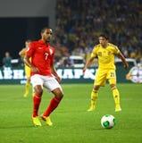 Spiel 2014 der Fußball-Weltmeisterschafts-näheren Bestimmung Ukraine V England lizenzfreie stockfotografie