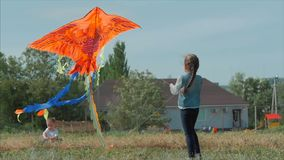 Spiel der hinteren Ansicht Kindermit einem Drachen, einem kleinen Mädchen und einem Jungen ließ eine fliegende Schlange in der Wi stock video