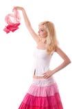 Spiel der jungen Frau mit hellem Schal lizenzfreie stockfotos