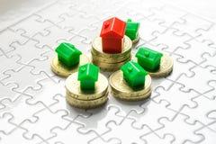 Spiel des Eigentums u. des Immobilienmarkts Stockfoto