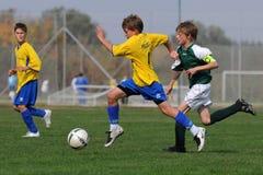 Spiel des Fußballs U13 Stockfoto