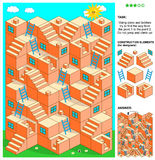 Spiel des Labyrinths 3d mit Treppe und Leitern Lizenzfreies Stockbild