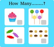 Spiel für das Precounting, Schulkinder, Spiel für Kinder, die Mathematik lernend, pädagogisch ein mathematisches Spiel, wieviele stock abbildung