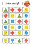 Spiel für Vorschulkinder Zählen Sie da viele Früchte im Bild und notieren Sie das Ergebnis Dreieck, Raute, Quadrat, Kreis esprit Lizenzfreie Abbildung