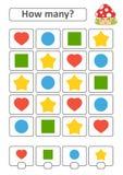 Spiel für Vorschulkinder Zählen Sie da viele Früchte im Bild und notieren Sie das Ergebnis Herz, Kreis, Quadrat, Stern Mit einem  Vektor Abbildung