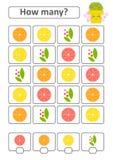 Spiel für Vorschulkinder Zählen Sie da viele Früchte im Bild und notieren Sie das Ergebnis Mit einem Platz für Antworten Einfache Lizenzfreie Abbildung