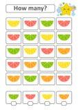 Spiel für Vorschulkinder Zählen Sie da viele Früchte im Bild und notieren Sie das Ergebnis Zitrone, Kalk, Orange, Pampelmuse mit Lizenzfreie Abbildung