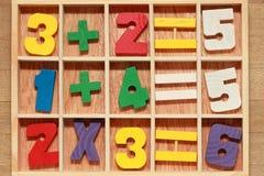 Spiel mit arithmetischen Operationen der Zahlen Stockfoto
