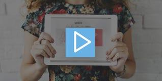 Spiel-Pausen-Knopf-Multimedia-Unterhaltungs-Ikonen-Konzept Stockfotografie