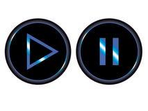 Spiel-Pausenknopf-Ikonenvektor des blauen Schwarzen stock abbildung