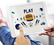 Spiel-Quarterback-Rugby-amerikanischer Fußball-Konzept stockbilder