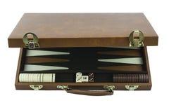 Spiel-Reihe spielen - Backgammon-Brettspiel-Fall Stockfoto
