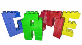 Spiel-Toy Blocks Play Together Fun-Wort Stockbild