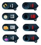 Spiel UI Ikonen mit einer Wahl von verschiedenen Parametern der Zeit, des Geldes, der Waffen und der Droge entwerfen für beweglic Stockfotos