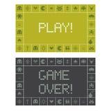 Spiel und Spiel über Schirm-Mitteilung Stockbilder