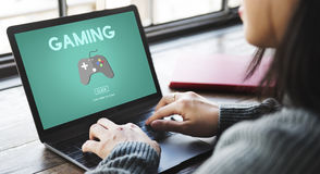 Spiel-Unterhaltungs-Spaß-Hobby-Digitaltechnik-Konzept Lizenzfreie Stockfotos