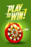 Spiel, zum des Designs, der brennenden Zielillustration, des Sports oder Geschäftserfolg zu gewinnen Stockfotografie