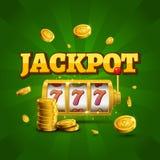 Spielautomat glückliches sevens Jackpotkonzept 777 Vektorkasinospiel Spielautomat mit Geldmünzen Vermögensmöglichkeitsjackpot Lizenzfreie Stockfotos