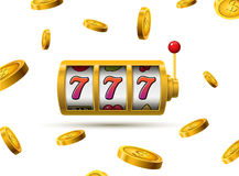 Spielautomat glückliches sevens Jackpotkonzept 777 Vektorkasinospiel Spielautomat mit Geldmünzen Vermögensmöglichkeitsjackpot Stockfotos