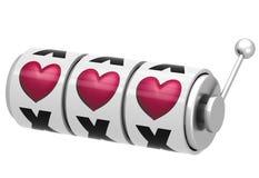 Spielautomat mit Herzen Stockfotografie
