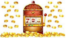 Spielautomat mit vielen Goldmünzen Stockfotografie