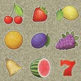 Spielautomatfrucht-Entlastungsmalerei auf erzeugtem Knitba Lizenzfreie Stockfotografie