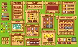 SpielBenutzerschnittstelle 3 Schnittstellen-Spieldesign-Ressourcenstange und Ressourcenikonen für Spiele vektor abbildung