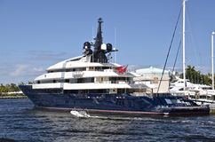Spielberg's Yacht The Seven Seas. FORT LAUDERDALE, FLORIDA-February 20, 2016: Steve Spielberg's 282' yacht The Seven Seas is moorhead on the Fort Lauderdale Royalty Free Stock Images