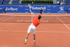 Spiele Albert Ramos Vinolass (spanischer Tennisspieler) am Atp Barcelona öffnen Turnier Gerichtsbank-Sabadells Conde de Godo Lizenzfreie Stockbilder
