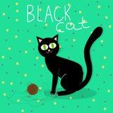 Spiele der schwarzen Katze mit Wollball lizenzfreie abbildung
