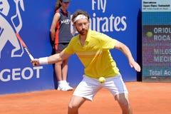 Spiele Miroslav Mecirs (Tennisspieler von Slowakei) am Gerichtsbank-Sabadells Conde de Godo Atps Barcelona offenen Turnier Lizenzfreie Stockbilder