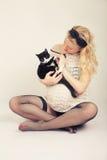 Spiele mit Katze Stockbilder