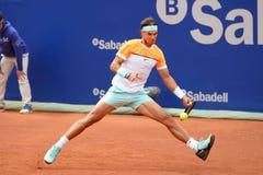Spiele Rafa Nadals (spanischer Tennisspieler) am Atp Barcelona öffnen Gerichtsbank Sabadell Lizenzfreie Stockfotos