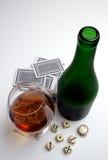 Spiele und Weinbrand stockbild