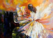 Spielen auf dem Klavier stockbild