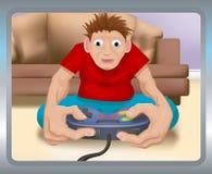 Spielen auf der Spielkonsole Stockfoto