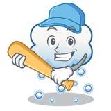 Spielen der Baseballschneewolken-Charakterkarikatur stock abbildung